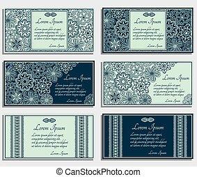 bleu, cartes, ensemble, invitation