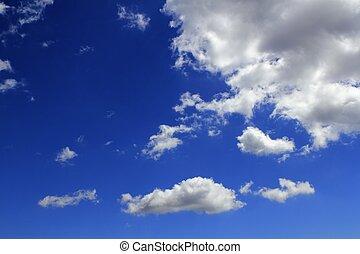 bleu, cloudscape, nuages, gradient, ciel, fond