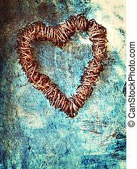 bleu, coeur, grunge, mur