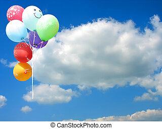 bleu, coloré, texte, ciel, contre, endroit, fête, ballons, ton, vide