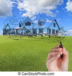 bleu, dessiner, maison, ciel, contre, main