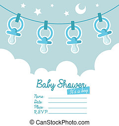 bleu, douche, papa, bébé, invitation