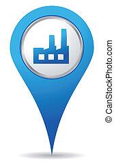 bleu, emplacement, usine, icône