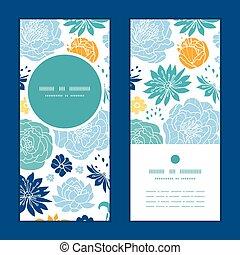 bleu, ensemble, vertical, modèle, cadre, salutation, jaune, flowersilhouettes, vecteur, invitation, cartes, rond