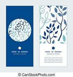 bleu, ensemble, vertical, modèle, cadre, salutation, vecteur, forêt, invitation, cartes, rond