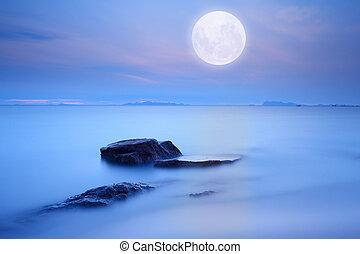 bleu, entiers, sur, technique, ciel, lune, mer, exposition