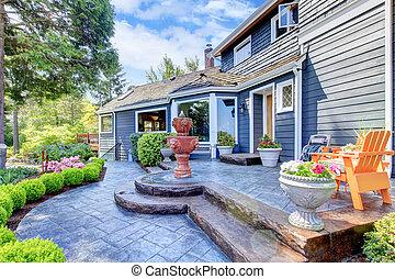 bleu, entrée, maison, fontaine, patio., gentil