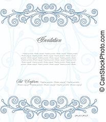bleu, floral, vecteur, fond, design.