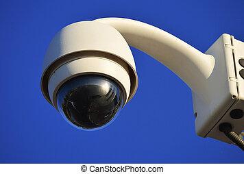 bleu, high-tech, sur, dôme ciel, appareil photo, type