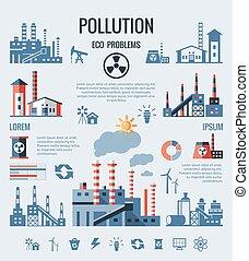 bleu, icônes, usine, vecteur, numérique, pollution