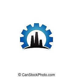 bleu, industriel, usine, élégant, vecteur, conception, gabarit, logo