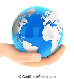 bleu, la terre, 3d, tenant main