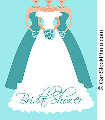 bleu, mariée, demoiselles honneur