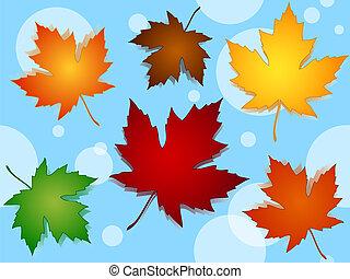 bleu, modèle, feuilles, seamless, couleurs, automne, sur, érable