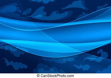 bleu, nuages, résumé, -, stylisé, fond, vagues