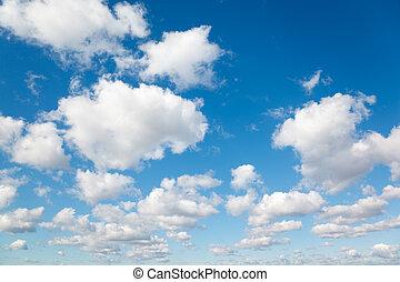 bleu, nuages, sky., pelucheux, clouds., fond, blanc