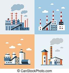 bleu, numérique, vecteur, usine, pollution