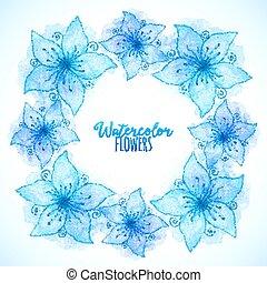 bleu, peint, cadre, aquarelle, vecteur, fleurs