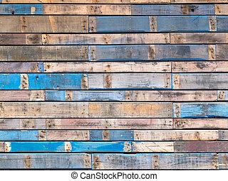 bleu, peint, prendre parti, bois, extérieur, grungy, planches