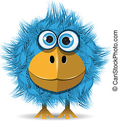 bleu, rigolote, oiseau