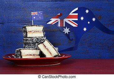 bleu, sombre, gâteaux, australie, arrière-plan., nourriture, vendange, 26, iconique, rustique, recyclé, bois, janvier, lamington, fête, australien, jour, rouges, heureux