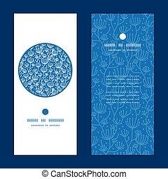 bleu, usines, ensemble, vertical, modèle, cadre, salutation, lineart, vecteur, invitation, cartes, blanc, rond