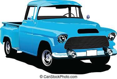 bleu, vieux, enlever, insignes, pick-up
