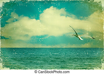 bleu, vieux, nature, vendange, paper., ciel, marine, mouette