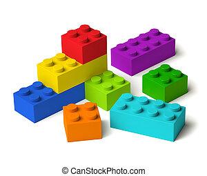 blocs, bâtiment, 3d, couleurs, arc-en-ciel
