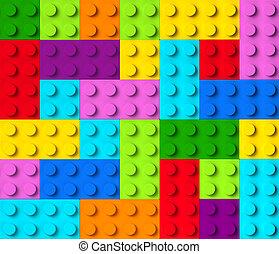blocs, coloré, vue, bâtiment, 3d, sommet