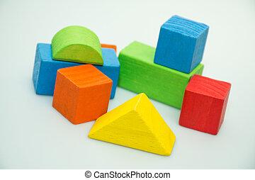 blocs, fond blanc, bâtiment