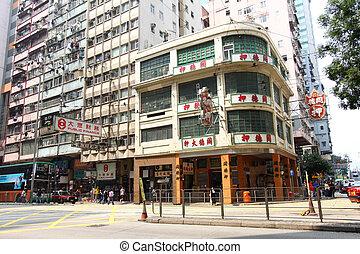 blocs, vieux, appartement, hong kong