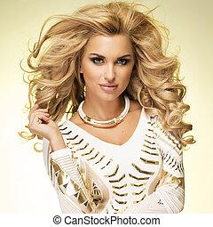 blond, mode, dame, posing.