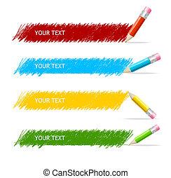 boîte, crayons, vecteur, coloré, texte