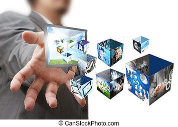 boîte, d, exposition, créatif, ruisseler, 3, images, homme affaires