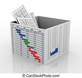 boîte, diagramme, business, 3d