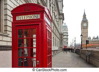 boîte, soir, city., cabines, fragment, grand, symbole, -, téléphone, traditionnel, téléphone, londres, fond, ben, public, rouges