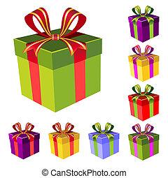 boîte, vecteur, ensemble, cadeau