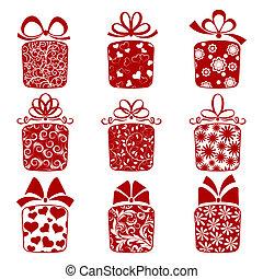 boîtes, collection, cadeau