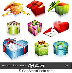 boîtes, vecteur, set:, cadeau