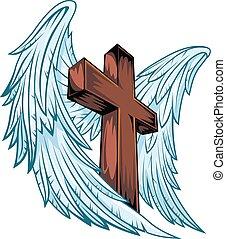 bois, ailes, ange, croix