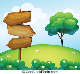 bois, colline, flèche, signage