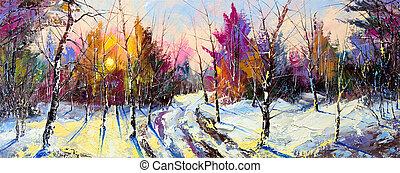 bois, coucher soleil, hiver