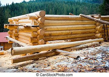 bois, maison pays