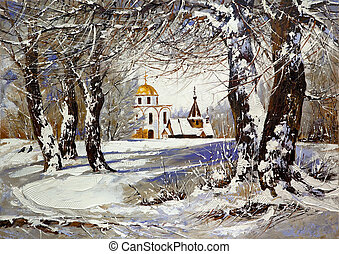 bois, paysage hiver, église