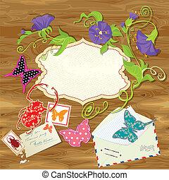 bois, vendange, cadre, papillons, text., fleurs, coléoptère, conception, fond, timbres, enveloppe, courrier, vide