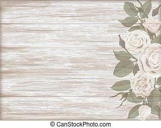 bois, vendange, fond, rose, blanc, bourgeon