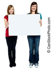 bon, whiteboard, regarder, tenue, paire, femmes