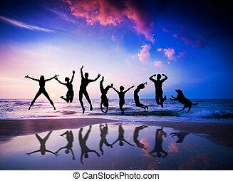 bonheur, plage., chien, sauter, gens