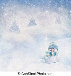 bonhomme de neige, hiver, fond